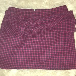 Red high waisted gingham plaid tie bow skirt